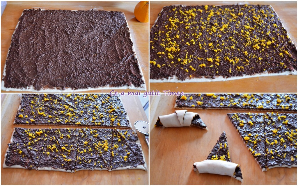 mod de pregatire cornulete cu ciocolata si nuca