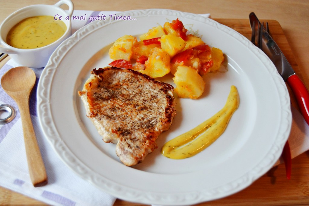 cotlet de porc la gratar cu sos de mustar 1
