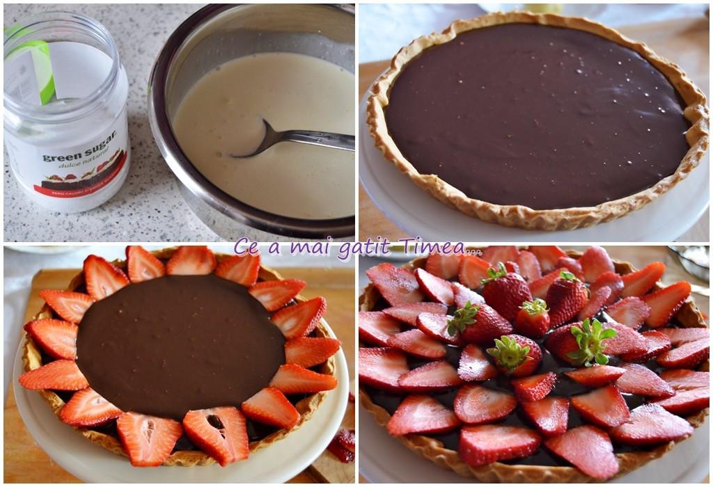 mod de preparare tarta cu ciocolata si capsune 2