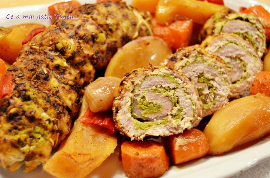 rulada de porc cu mazare pe pat de legume 1