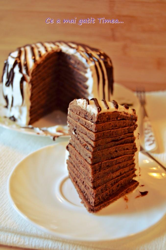tort de clatite cu ciocolata 2