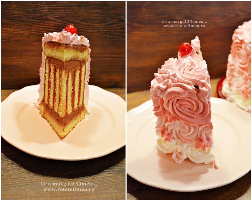 tort spirala cu ciocolata si visine felie