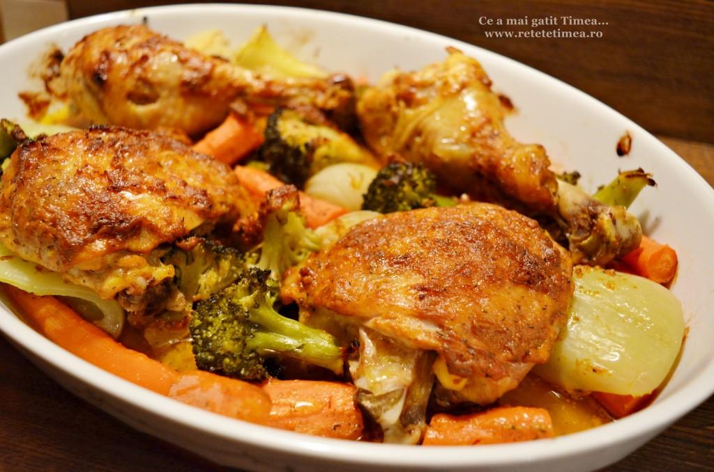 pulpe de pui cu mustar cu legume la cuptor