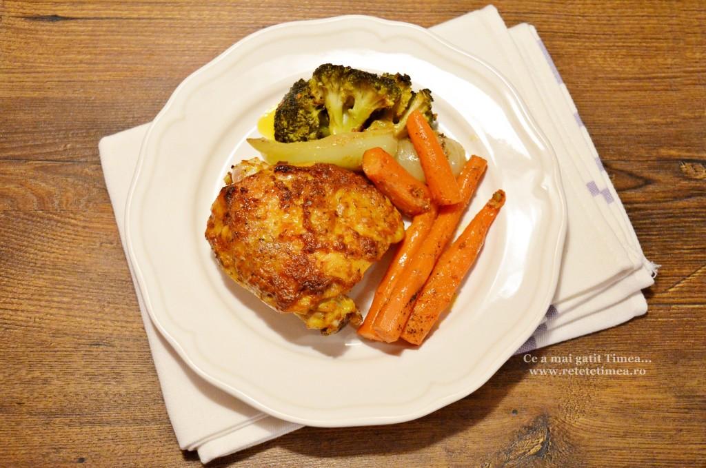 pulpe de pui cu mustar cu legume la cuptor 2