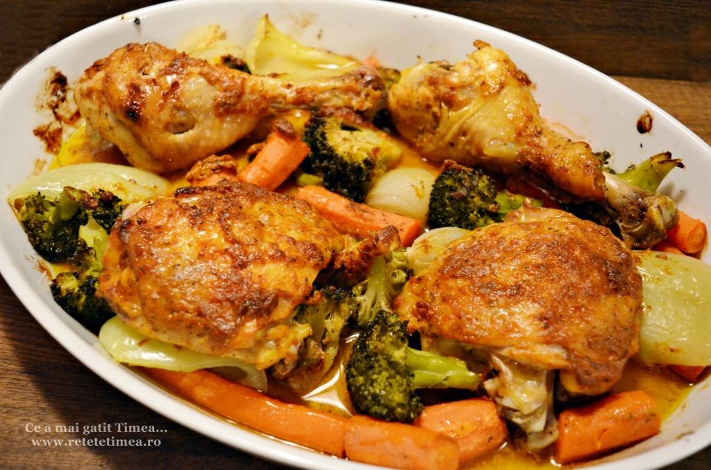 pulpe de pui cu mustar cu legume la cuptor 3