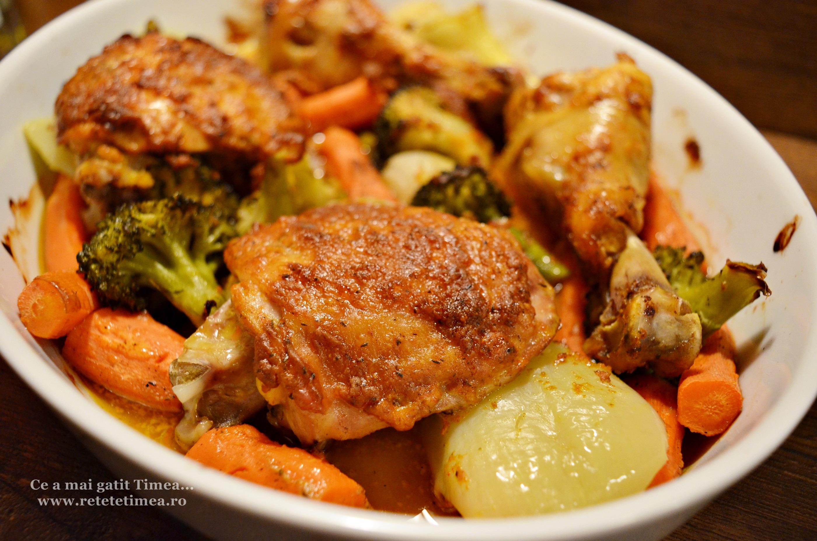 pulpe de pui cu mustar cu legume la cuptor 4