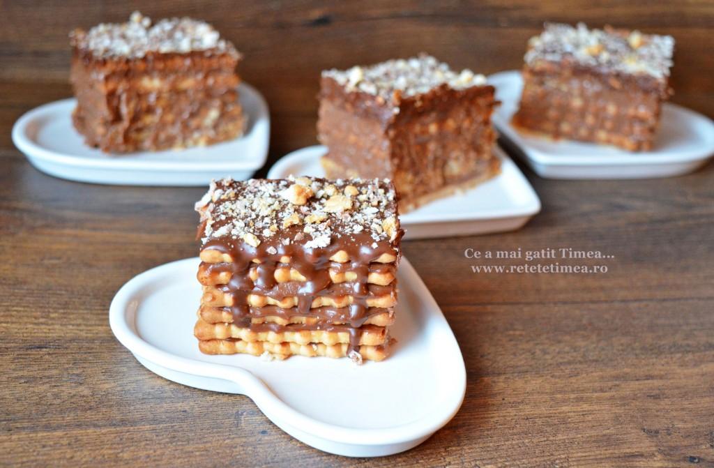 Tort de biscuiti cu crema de ciocolata cu rom 3