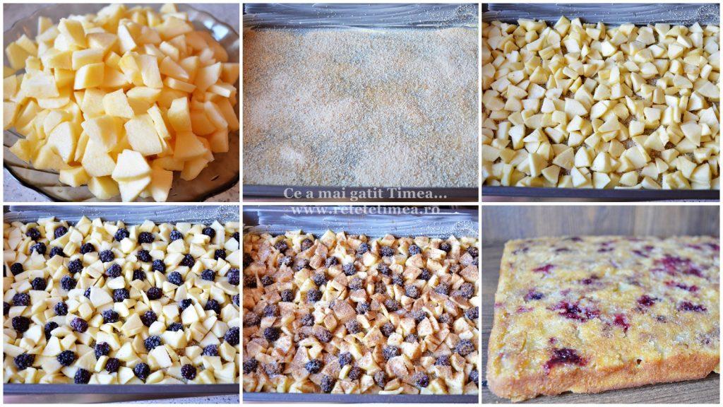 mod de preparare prajitura rasturnata cu mure si mere
