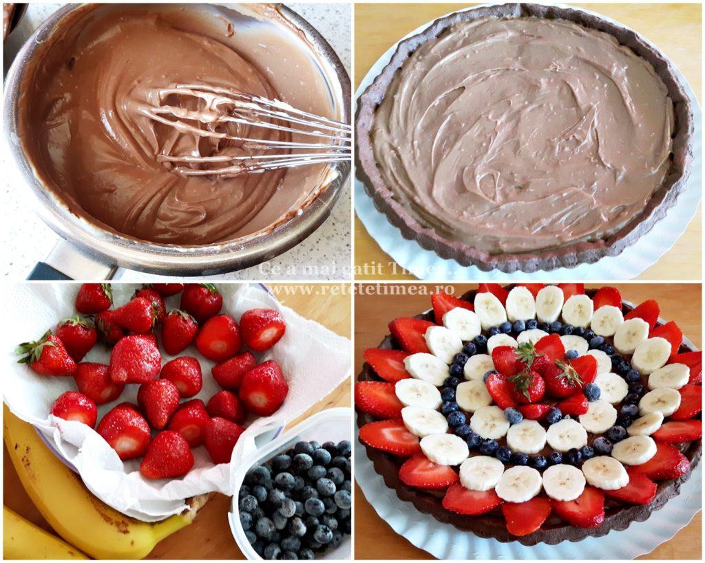 mod de preparare tarta de ciocolata cu fructe 1
